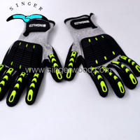 PRI Mens Aramid Mining Oil Field Drill Protection Leather TPR Impact Hand Anti Cut Resistant Gloves